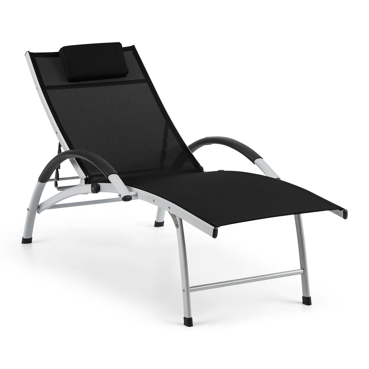 Sunbed  Garden Chair Patio Furniture home Reclining Aluminium Pillow Black