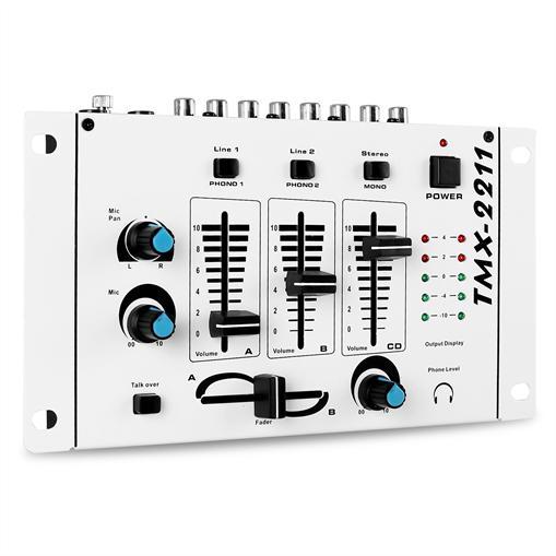 Table de mixage DJ PA 3 voies micro rack design blanc