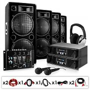 Set DJ PA « Bass First » 4000W amplis + enceintes+mixer