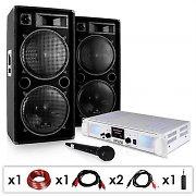 """DJ-PA-setti """"DJ-21"""" DJ-vahvistin PA-kaiuttimet kaapeli 2000 W"""