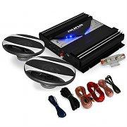 auna Black Line 220 Car HiFi Set Boxen Eindversterker 1400 W max.