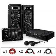 DJ-24M-setti, vahvistin, kaiuttimet, mikrofonit, 1200W