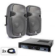 """Conjunto PA """"SPJ Boom 15"""" 2 altavoces de 38cm y amplificador 1500W"""