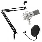 Studio-mikrofonset med mikrofon & mikrofonarmstativ & puffskydd silver
