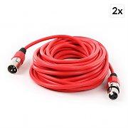 FrontStage Cable XLR Juego de 2 piezas 10 m rojo macho a hembra