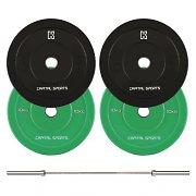 Capital Sports Nipton Mens Set I Conjunto de Barra Olímpica e 2 pares de Discos de Peso de 5 e 10kg Cada