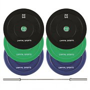CAPITAL SPORTS Nipton Mens Set II Olympic Bar Gewichte 3 Paar 5, 10 & 20 kg