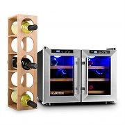 Klarstein Reserva Saloon vinkylskåp 12 flaskor 40 liter rostfritt stål LED
