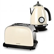 Klarstein Aquavita Frukostset Creme | Vattenkokare | Toaster | creme