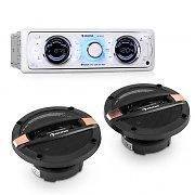 auna MD-170-BT Car-Hifi-Set Bilradio + 4-Vägs-Bil-Högtalare MP3 USB SD BT