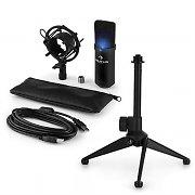 auna MIC-900B -LED USB Set Microfono V1 | Condensatore-Microfono nero | Stativo