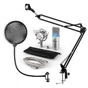 auna MIC-900S-LED USB mikrofonset V4 kondensatormikrofon mikrofonskydd arm LED silver
