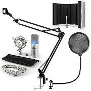 auna MIC-900S-LED USB mikrofonset V5 kondensator mikrofonskydd skärm arm silver