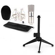 auna CM001S microfoonset V1 zilveren studiomicrofoon met spin & tafelstandaard