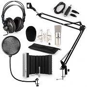 auna CM001S microfoonset V5 koptelefoon USB adapter arm plopkap scherm - zilver