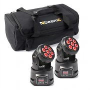 beamZ Set de efectos de luz 2x MHL-74 Moving-Head Mini Wash & 1x Soft Case