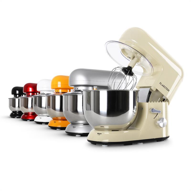 Robot De Cuisine Multifonction Klarstein Bella Morena Bol Inox 5,2L 1200W Creme