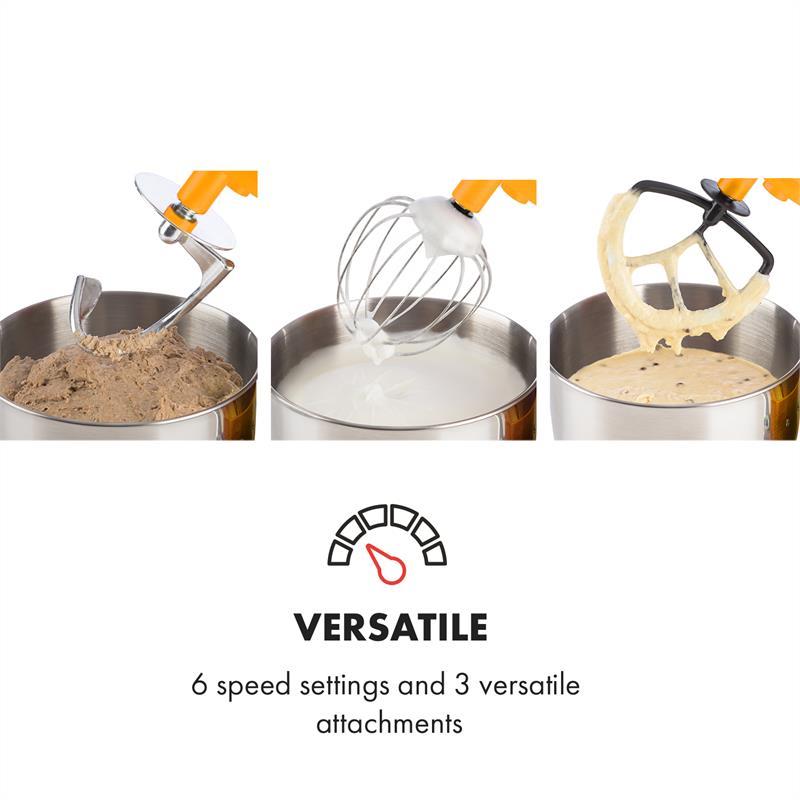Robot-menager-mixeur-cuisine-multifonction-Crochets-Petrin-Fouet-Bol-inox-1200W miniature 5