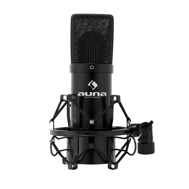 Auna CM280 Micr/ófono de Condensador convertidor A//D Plateado